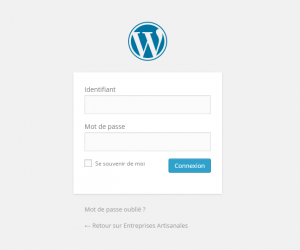 Interface de connexion WordPress