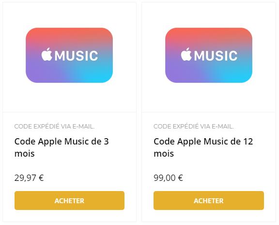 acheter code apple music